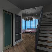 Modern House-livingroom poster