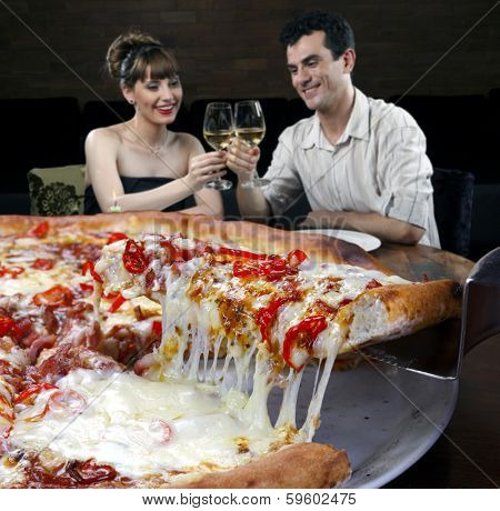 Couple in pizzeria