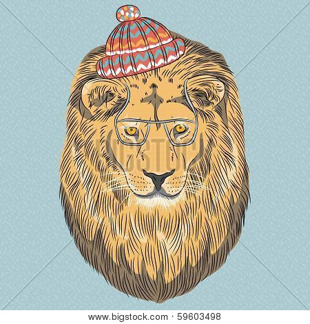 Vector Serious Cartoon Hipster Lion