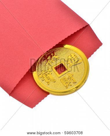 Good luck coin in a red envelope for the Chinese New Year