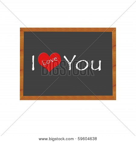 Blackboard symbolizing I Love You