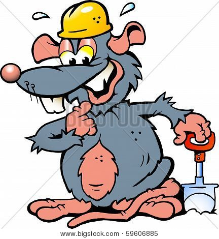 Hand-drawn Vector Illustration Of An Smiling Rat Holding A Spade