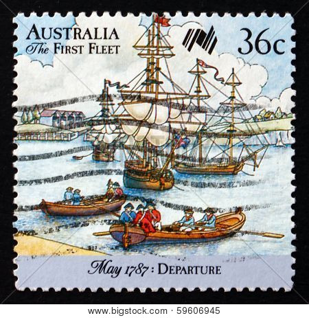 Postage Stamp Australia 1987 First Fleet In Portsmouth Harbor