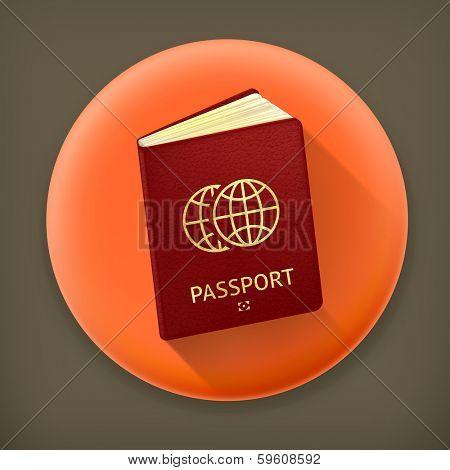 Passport, long shadow vector icon