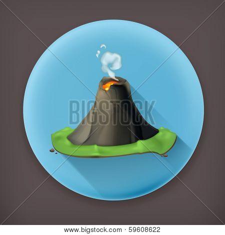 Volcano, long shadow vector icon