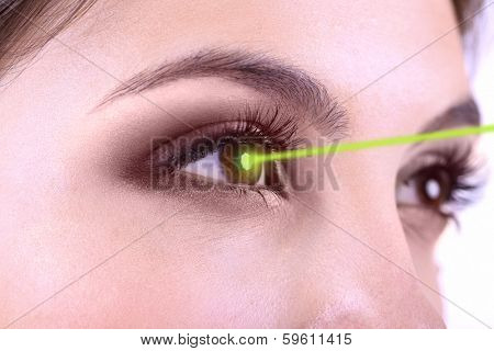 Laser vision correction. Woman's  eyes.