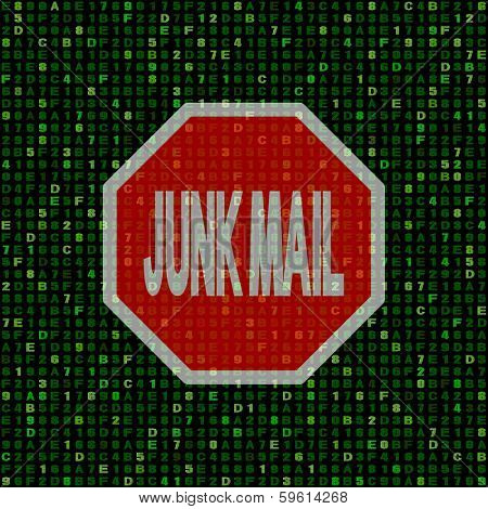 Stop Junk Mail sign on hex code illustration