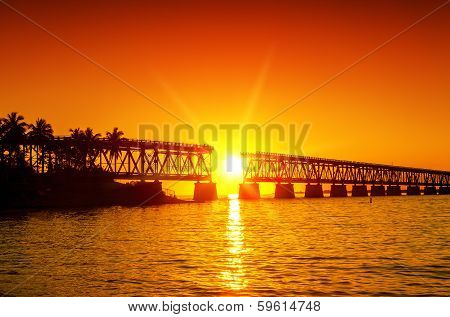 Sunset At Broken Bridge