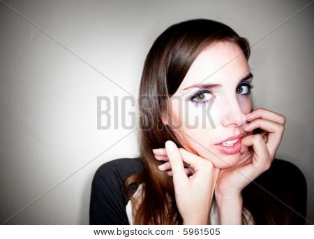 Apprehensive Young Woman