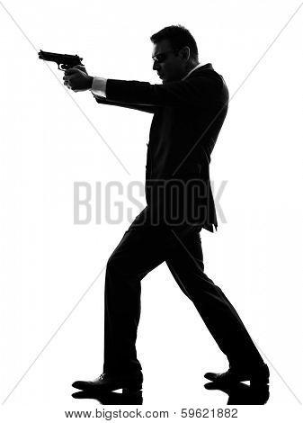 one caucasian killer man in silhouette  on white background
