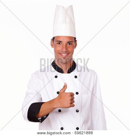 Professional Hispanic Male Chef With Ok Thumb