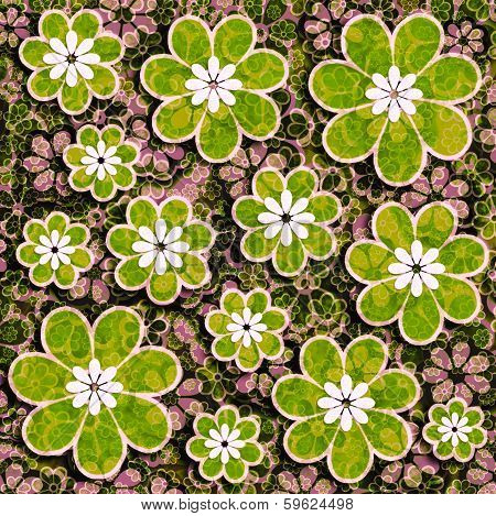 Green And Pink Flower Scrapbook Paper