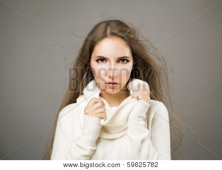 Winter Portrait of Woman in White Cashmere Sweater