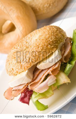 Delicious Ham And Cheese Bagel
