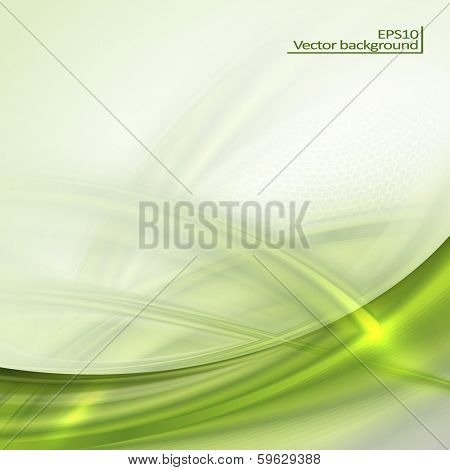 Abstract green waving background with place for text