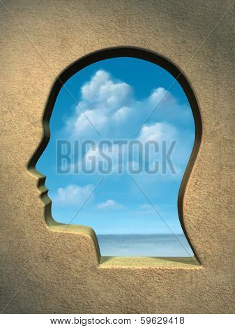 A bright blue sky seen through an head shaped window. Digital illustration.