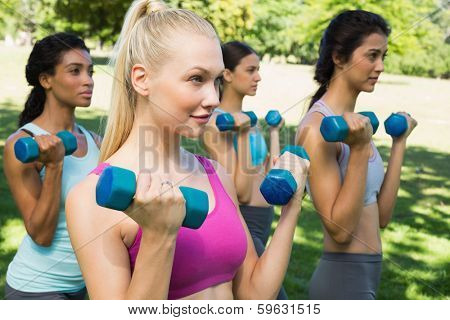 Group of dedicated young women lifting free weights in park