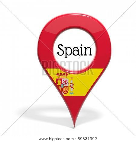 3D pinpoint with flag of Spain isolated on white