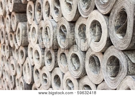 roofing material ruberoid in a storage, background