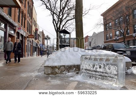 Ice Carving In Downtown Ann Arbor