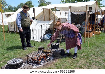 Civil-war Era Reenactor Cooking