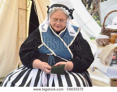 Civil-war Era Reenactor Sewing