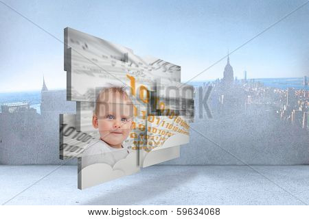 Genius baby on abstract screen against city scene in a room