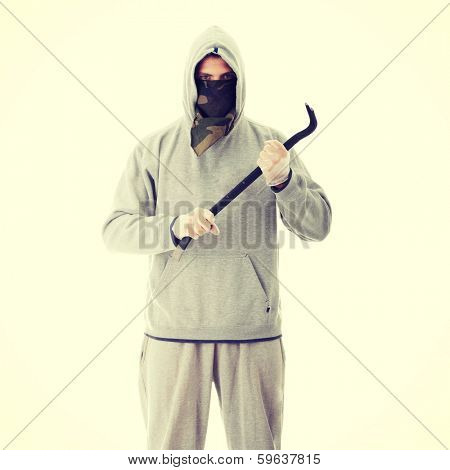 Criminal theme - thug with a crowbar