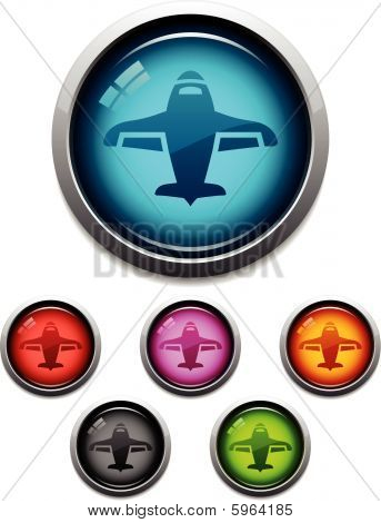 Glossy airplane icons
