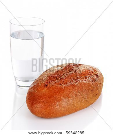Rye bread and glass of water isolated on white