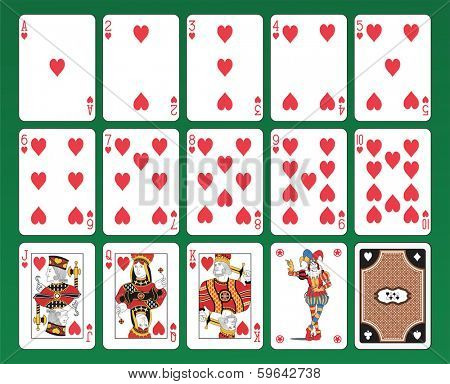 Set of playing cards of Hearts on green background. The figures are original design as well as the jolly, the ace of spades and the back card.