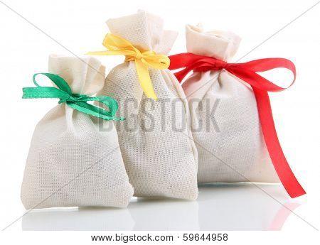 Textile sachet bags isolated on white