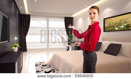 Businesswoman in a Hotelroom