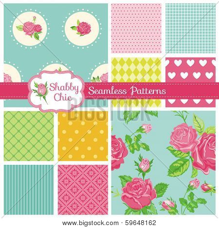 Set of Seamless Patterns and Backgrounds - Floral Shabby Chic Theme - in vector