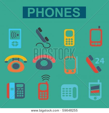 flat phones icons set, vector