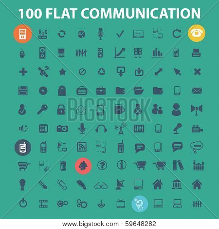 100 flat communication, phone, connection, internet, design icons set, vector