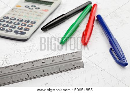 Blue print with stationary