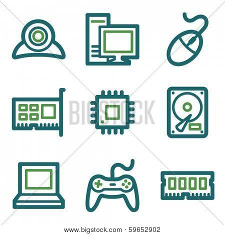 Computer web icons, green line set