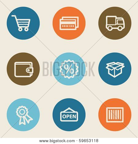 Shopping web icon set 2 , color circle buttons