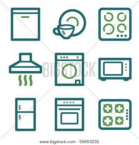 Home appliances web icons, green line set
