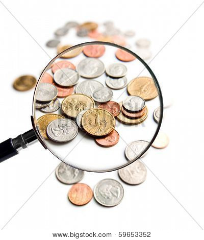 U.S. Coins magnification magnifier on white background