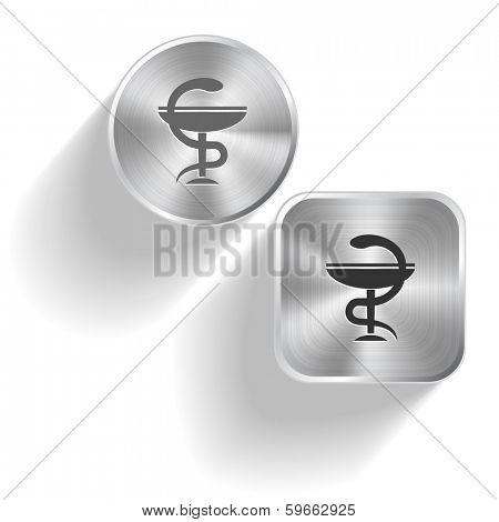 Pharma symbol. Raster set steel buttons