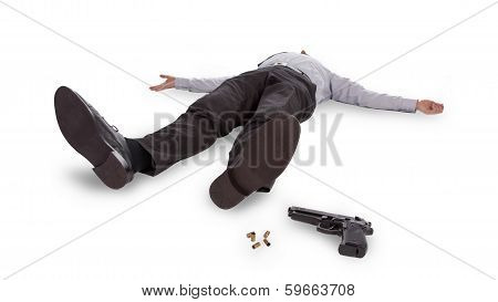 Businessman Lying Dead In The Floor
