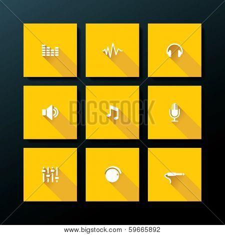 Audio icon set - vector illustration