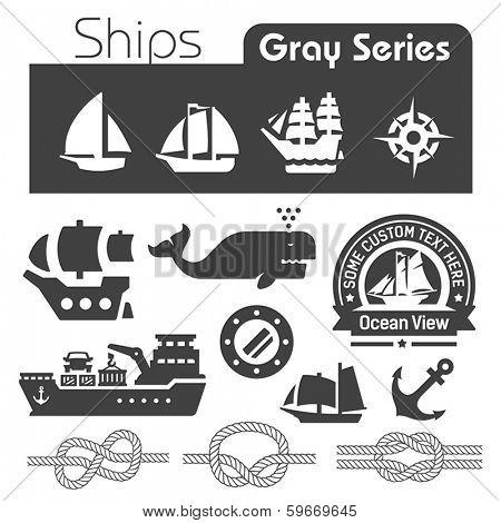 Ships icons gray series