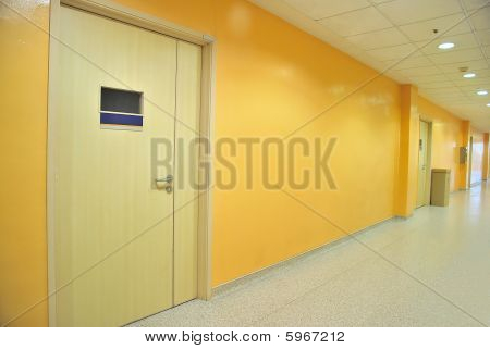 Closed Doors Along A Corridor
