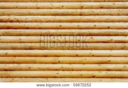 Wall From New Pine Logs