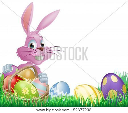 Pink Easter Eggs Bunny