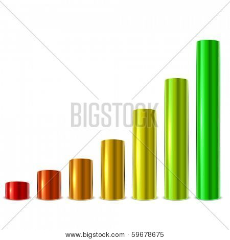 Cylinder glossy metallic graph bars vector template isolated on white background.