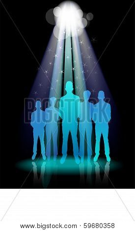 Illustration Of Business Group Standing In Spotlights